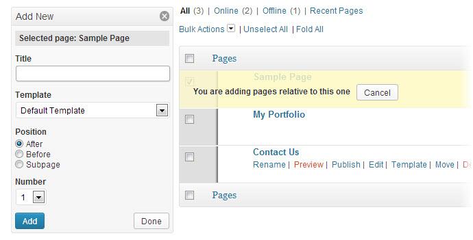 add bulk new pages to wordpress