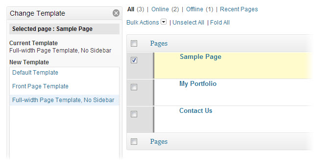 apply template to wordpress page