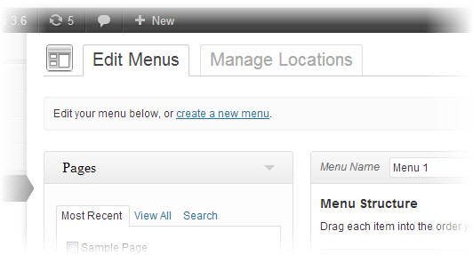 new menu editor of wordpress 3.6