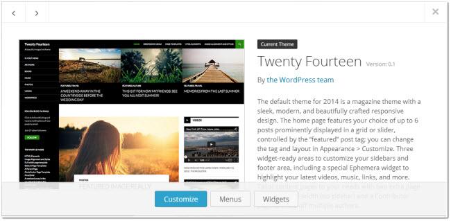 new wordpress theme selection