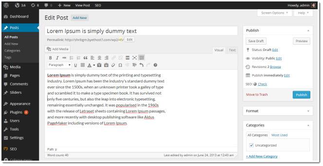 wordpress 3.8 editor