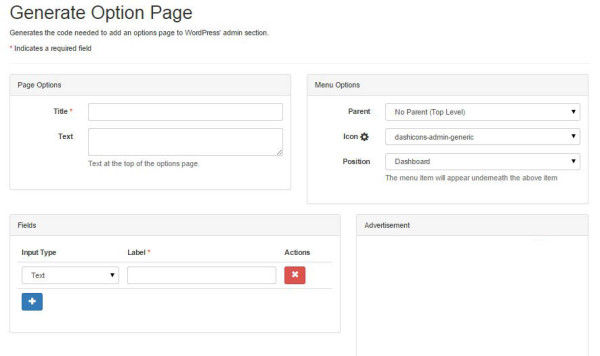 online WordPress options page generator