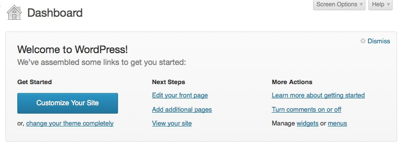 welcome to wordpress dashboard